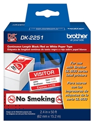 "Brother DK2251 Continuous Black/Red on White Paper Labels 2.4"" (62mm) x 50' (15.2m)"