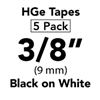 "Brother HGE2215PK Black on White HGe Tape with Standard Adhesive 9mm x 8m (3/8"" x 26'2"") Pack of 5"