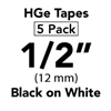 "Brother HGE2315PK Black on White HGe Tape with Standard Adhesive 12mm x 8m (1/2"" x 26'2"") Pack of 5"