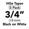"Brother HGE2415PK Black on White HGe Tape with Standard Adhesive 18mm x 8m (3/4"" x 26'2"") Pack of 5"