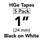 "Brother HGE2515PK Black on White HGe Tape with Standard Adhesive 24mm x 8m (1"" x 26'2"") Pack of 5"