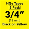 "Brother HGE6415PK Black on Yellow HGe Tape with Standard Adhesive 18mm x 8m (3/4"" x 26'2"") Pack of 5"
