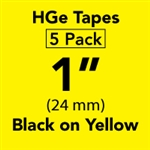 "Brother HGE6515PK Black on Yellow HGe Tape with Standard Adhesive 24mm x 8m (1"" x 26'2"") Pack of 5"