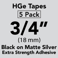 "Brother HGEM9415PK Black on Matte Silver HGe Tape with Standard Adhesive 18mm x 8m (3/4"" x 26'2"") Pack of 5"