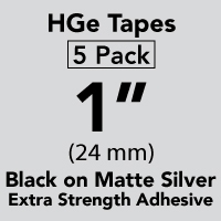 "Brother HGEM9515PK Black on Matte Silver HGe Tape with Standard Adhesive 24mm x 8m (1"" x 26'2"") Pack of 5Pack of 5"