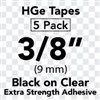 "Brother HGES1215PK Black on Clear High Grade Tape 9mm x 8m (3/8"" x 26'2"") Pack of 5"