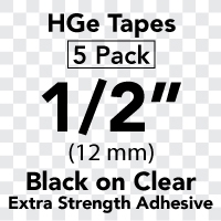 "Brother HGES1315PK Black on Clear High Grade Tape 12mm x 8m (1/2"" x 26'2"") Pack of 5"