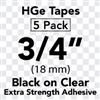 "Brother HGES1415PK Black on Clear High Grade Tape 18mm x 8m (3/4"" x 26'2"") Pack of 5"