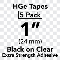 "Brother HGES1515PK Black on Clear High Grade Tape 24mm x 8m (1"" x 26'2"") Pack of 5"
