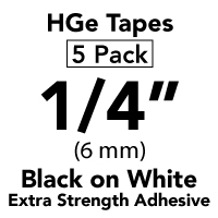 "Brother HGES2115PK Black on White High Grade Tape 6mm x 8m (1/4"" x 26'2"") Pack of 5"