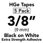 "Brother HGES2215PK Black on White High Grade Tape 9mm x 8m (3/8"" x 26'2"") Pack of 5"