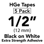 "Brother HGES2315PK Black on White High Grade Tape 12mm x 8m (1/2"" x 26'2"") Pack of 5"