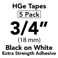 "Brother HGES2415PK Black on White High Grade Tape 18mm x 8m (3/4"" x 26'2"") Pack of 5"