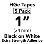 "Brother HGES2515PK Black on White High Grade Tape 24mm x 8m (1"" x 26'2"") Pack of 5"