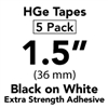 "Brother HGES2615PK Black on White High Grade Tape 36mm x 8m (1 1/2"" x 26'2"") Pack of 5"