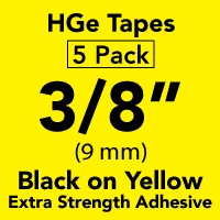 "Brother HGES6215PK Black on Yellow High Grade Tape 9mm x 8m (3/8"" x 26'2"") Pack of 5"
