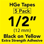"Brother HGES6315PK Black on Yellow High Grade Tape 12mm x 8m (1/2"" x 26'2"") Pack of 5"