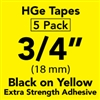 "Brother HGES6415PK Black on Yellow High Grade Tape 18mm x 8m (3/4"" x 26'2"") Pack of 5"
