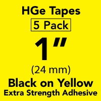 "Brother HGES6515PK Black on Yellow High Grade Tape 24mm x 8m (1"" x 26'2"") Pack of 5"