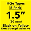 "Brother HGES6615PK Black on Yellow High Grade Tape 36mm x 8m (1 1/2"" x 26'2"") Pack of 5"