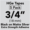 "Brother HGES9415PK Black on Matte Silver High Grade Tape 18mm x 8m (3/4"" x 26'2"") Pack of 5"