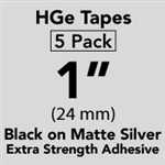 "Brother HGES9515PK Black on Matte Silver High Grade Tape 24mm x 8m (1"" x 26'2"") Pack of 5"