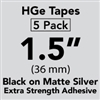 "Brother HGES9615PK Black on Matte Silver High Grade Tape 36mm x 8m (1 1/2"" x 26'2"") Pack of 5"