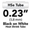 Brother HSE211 Black on White Heat Shrink Tube 0.23 in x 4.9 ft (5.8mm x 1.5m)