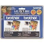 Brother LC51 ( LC-51 ) OEM Black Ink Cartridge - Dual Pack
