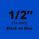"Brother M531 Black on Blue Non-Laminated Tape 12mm x 8m (1/2"" x 26'2"" long)"