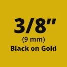 "Brother M821 Black On Gold Non-Laminated Tape 9mm x 8m (3/8"" x 26'2"")"