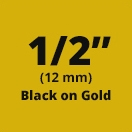 "Brother M831 Black on Gold Non-Laminated Tape 12mm x 8m (1/2"" x 26'2"" long)"