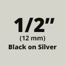 "Brother M931 Black on Silver Non-Laminated Tape 12mm x 8m (1/2"" x 26'2"" long)"