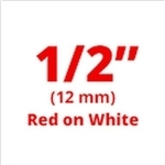 "Brother MK232 Red on White Non-Laminated Tape 12mm x 8m (1/2"" x 26'2"" long)"