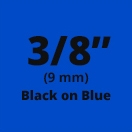 "Brother MK521 Black on Blue Non-Laminated Tape 9mm x 8m (3/8"" x 26'2"" long)"