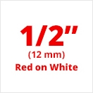 "Brother TC202 Red on White Laminated Tape 12mm x 7.5m (1/2"" x 25' long)"