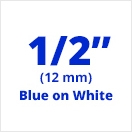 "Brother TC203 Blue on White Laminated Tape 12mm x 7.5m (1/2"" x 25' long)"