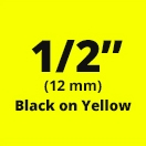 "Brother TC601 Black on Yellow Laminated Tape 12mm x 7.5m (1/2"" x 25' long)"