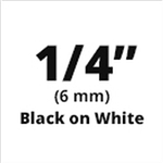 "Brother TX2111 Black on White 1/4"" (6mm) x 50' Laminated Tape"