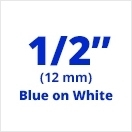 "Brother TX2331 Blue on White 1/2"" (12mm) x 50' Laminated Tape"
