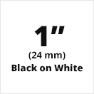 "Brother TX2511 Black on White 1"" (24mm) x 50' Laminated Tape"