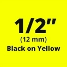 "Brother TX6311 Black on Yellow 1/2"" (12mm) x 50' Laminated Tape"