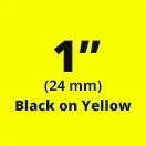 "Brother TX6511 Black on Yellow 1"" (24mm) x 50' Laminated Tape"