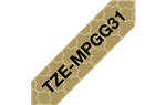 "Brother TZeMPGG31 Black on Gold Geometric Patterned Laminated Tape 12mm x 5m (1/2"" x 16'4"")"