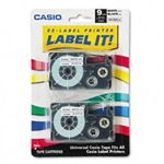 "Casio XR9WE2S 3/8"" Black on White Tape Cassettes, 2/Pack"