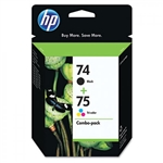 HP 74 / 75 ( CC659FN ) OEM Combo Pack includes #74 Black and #75 Colour Ink Cartridges