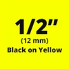 "Brother TZeS631 Black on Yellow Laminated Tape with Extra Strength Adhesive 12mm x 8m (1/2"" x 26'2"")"