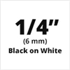 "Brother TZe211 Black on White Laminated Tape for Indoor and Outdoor Use 6mm x 8m (1/4"" x 26'2"")"