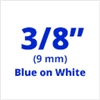 "Brother TZe223 Blue on White Laminated Tape for Indoor and Outdoor Use 9mm x 8m (3/8"" x 26'2"")"
