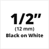 "Brother TZe231 Black on White Laminated Tape for Indoor and Outdoor Use 12mm x 8m (1/2"" x 26'2"")"